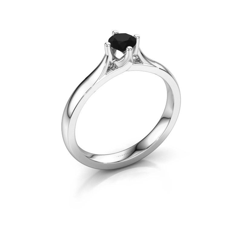 Verlovingsring Eva 585 witgoud zwarte diamant 0.36 crt