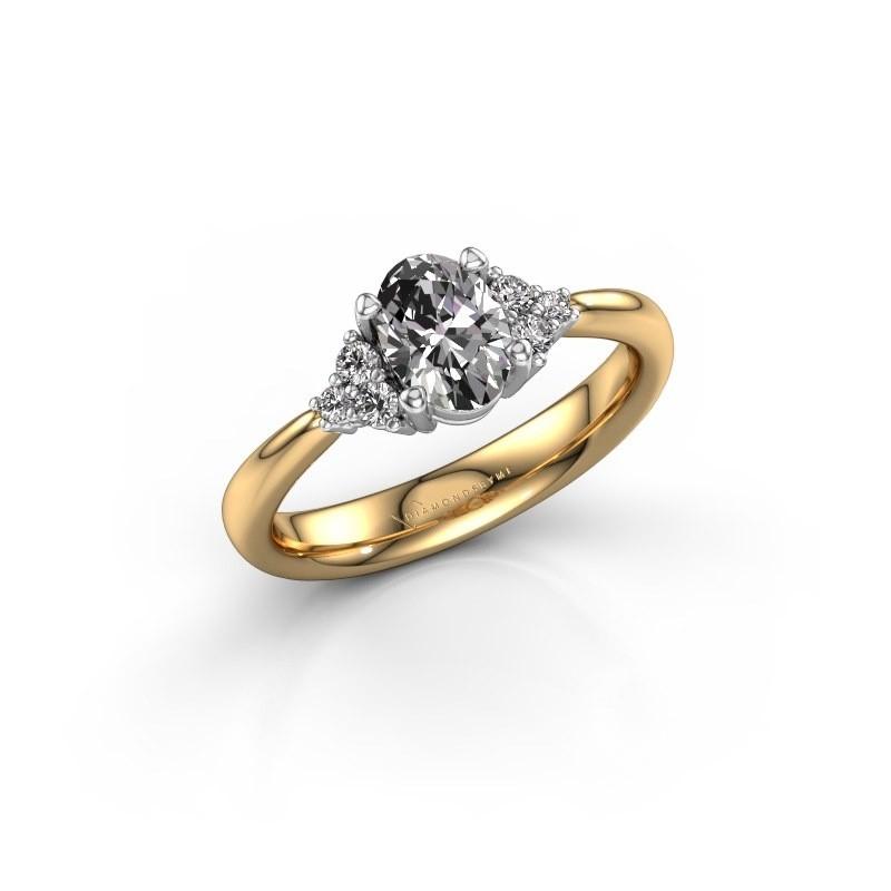 Verlovingsring Aleida OVL 1 585 goud zirkonia 7x5 mm