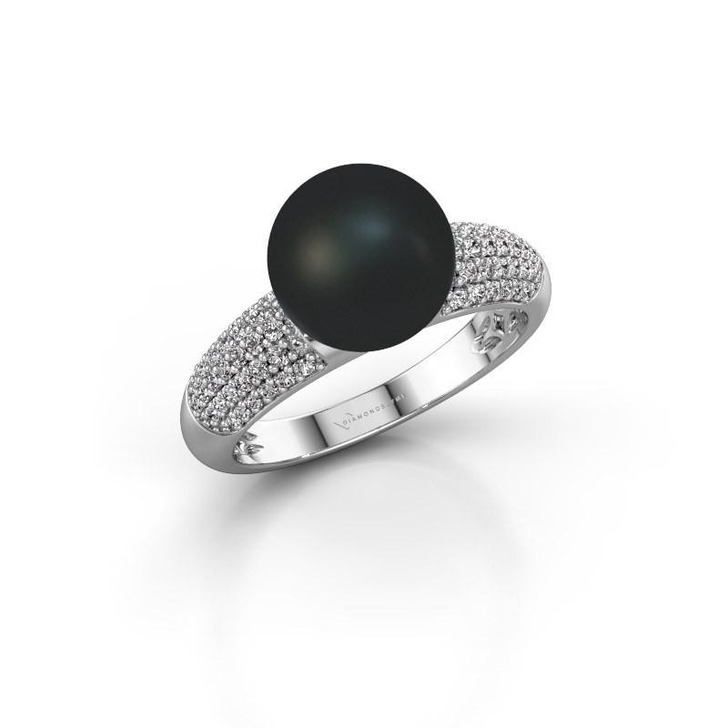 Ring Anisa 375 white gold black pearl 9 mm