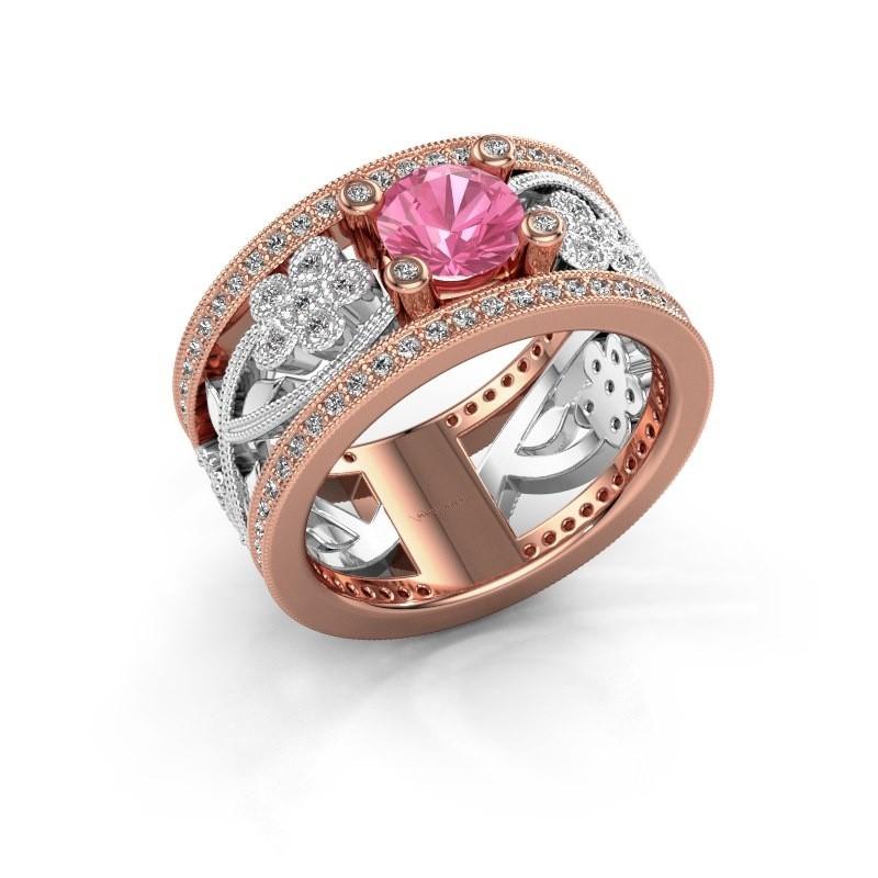 Ring Severine 585 rosé goud roze saffier 6 mm