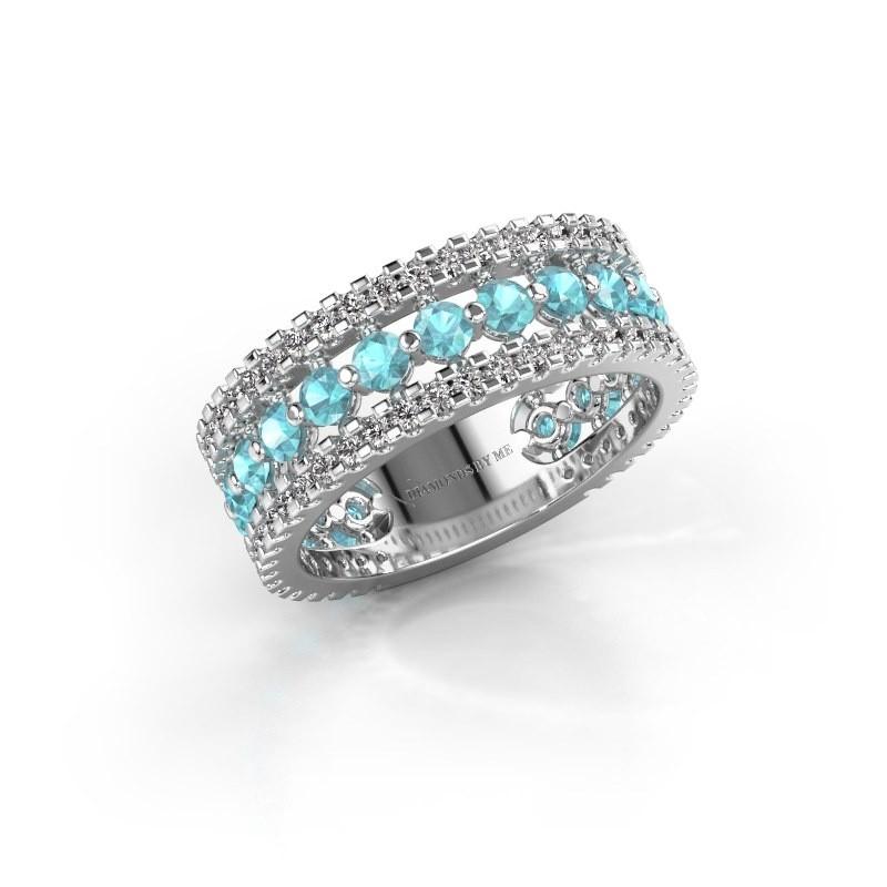 Verlovingsring Elizbeth 2 925 zilver blauw topaas 2.4 mm