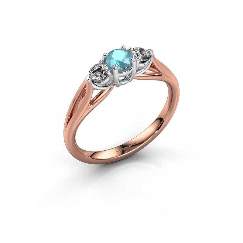 Verlovingsring Amie RND 585 rosé goud blauw topaas 4.2 mm