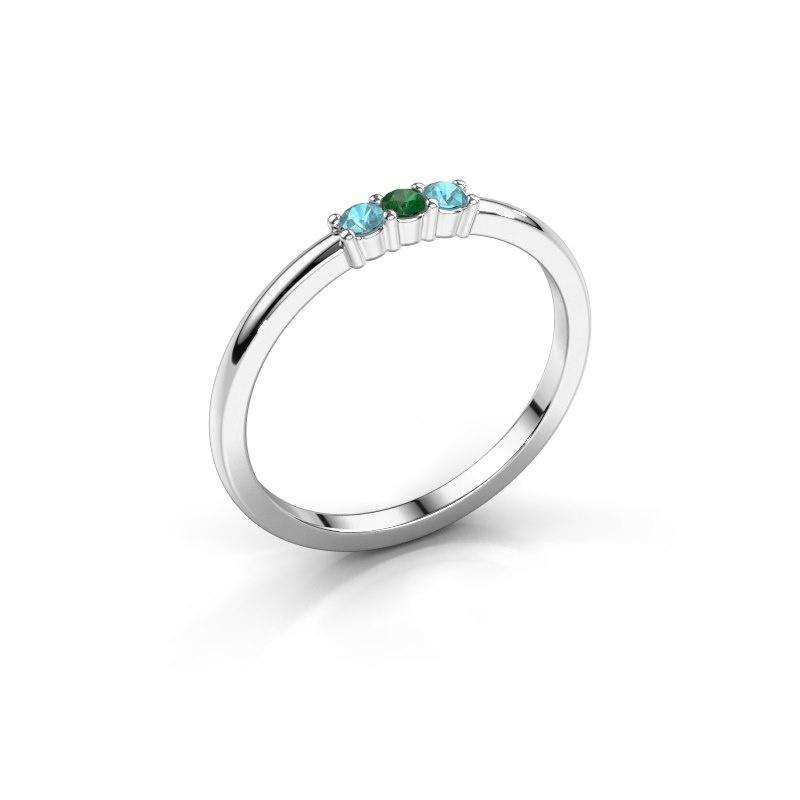 Verlovings ring Yasmin 3 950 platina smaragd 2 mm