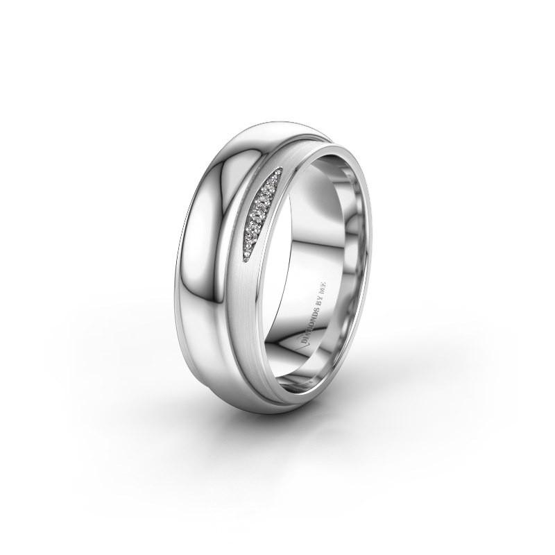 Trouwring WH2038L 925 zilver diamant ±7x2.4 mm
