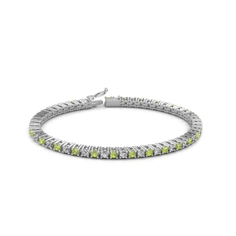 Tennis bracelet Petra 585 white gold peridot 3 mm