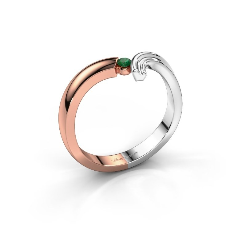 Ring Tish 585 rosé goud smaragd 2.2 mm