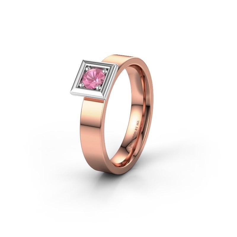 Trouwring WH2112L14A 585 rosé goud roze saffier ±4x1.7 mm