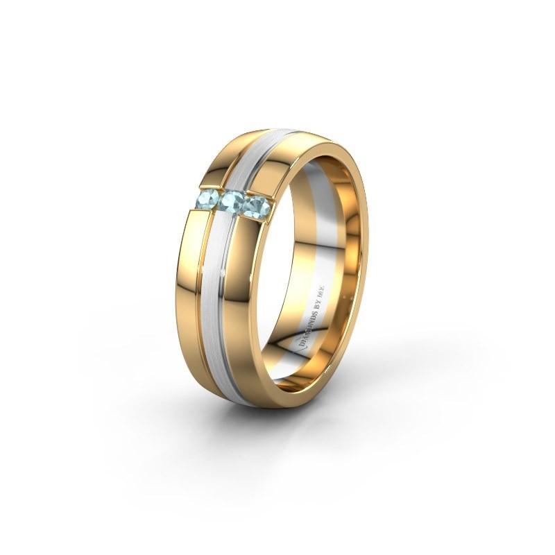 Wedding ring WH0426L26A 585 gold aquamarine ±0.24x0.07 in