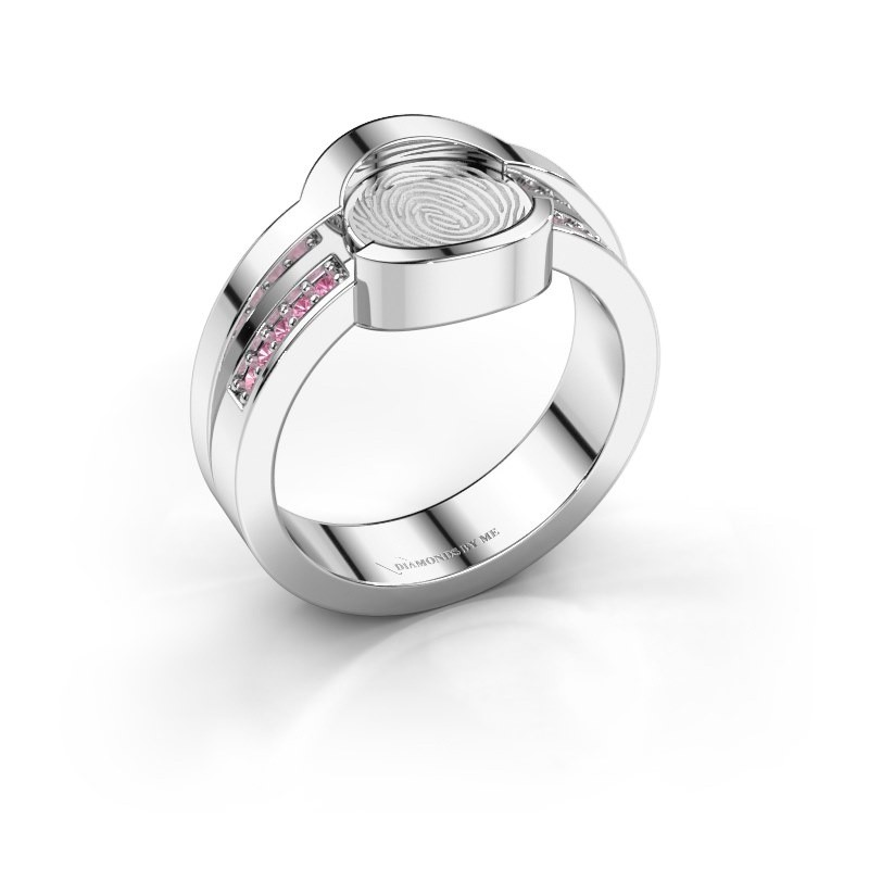 Ring Leander 585 white gold pink sapphire 0.8 mm