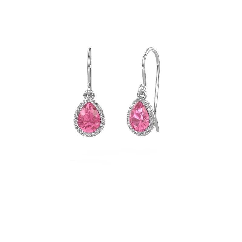 Oorhangers Seline per 375 witgoud roze saffier 7x5 mm
