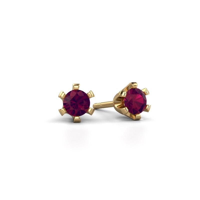 Stud earrings Shana 375 gold rhodolite 4 mm