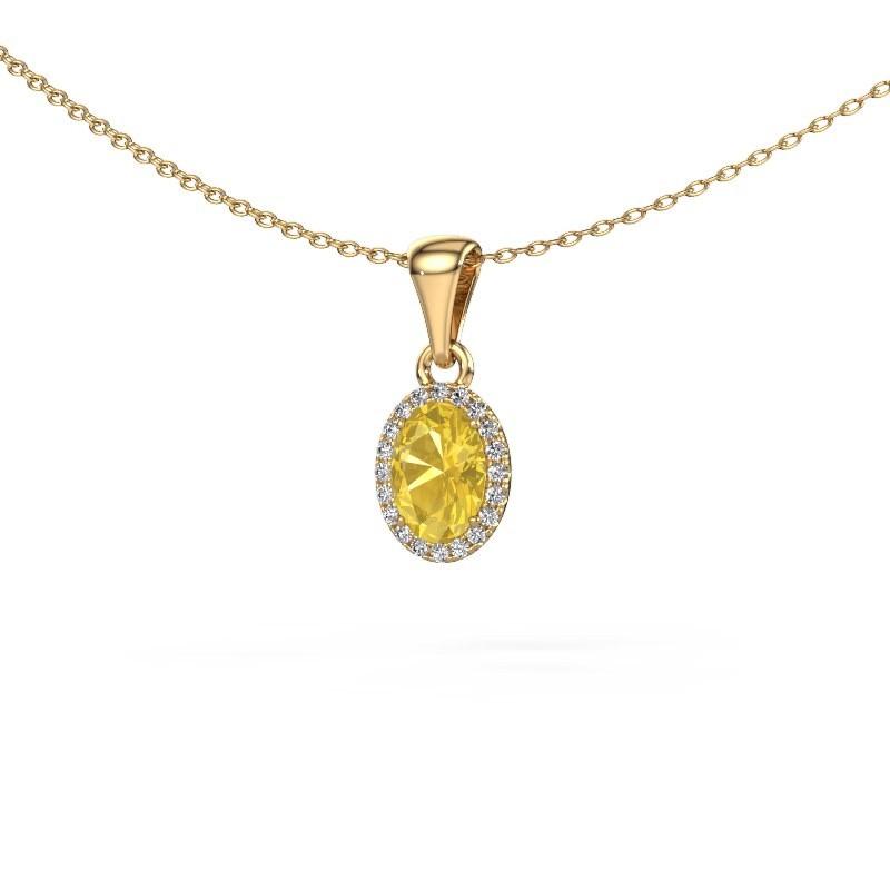 Hanger Seline ovl 585 goud gele saffier 7x5 mm