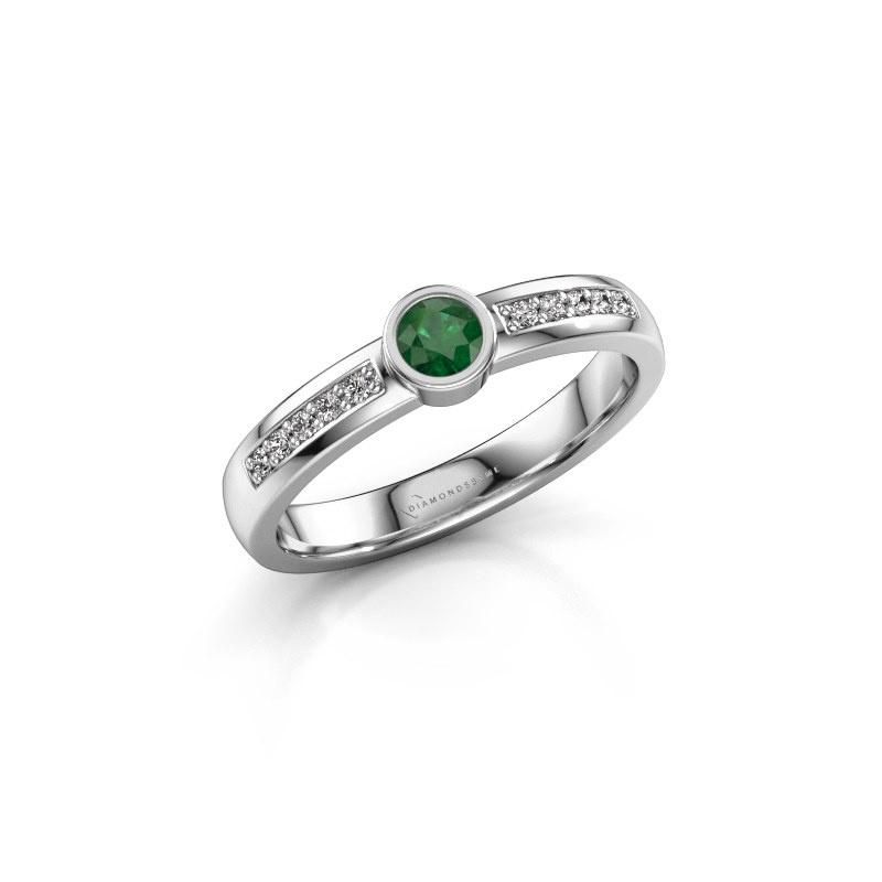 Engagement ring Ise 2 950 platinum emerald 3.7 mm