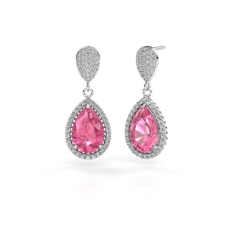 Drop earrings Tilly per 2 585 white gold pink sapphire 12x8 mm