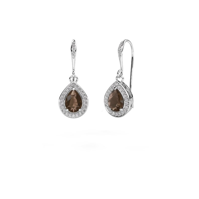 Drop earrings Beverlee 2 585 white gold smokey quartz 7x5 mm