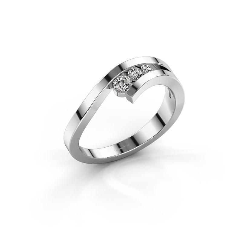 Ring Evalyn 2 585 witgoud zirkonia 2.8 mm