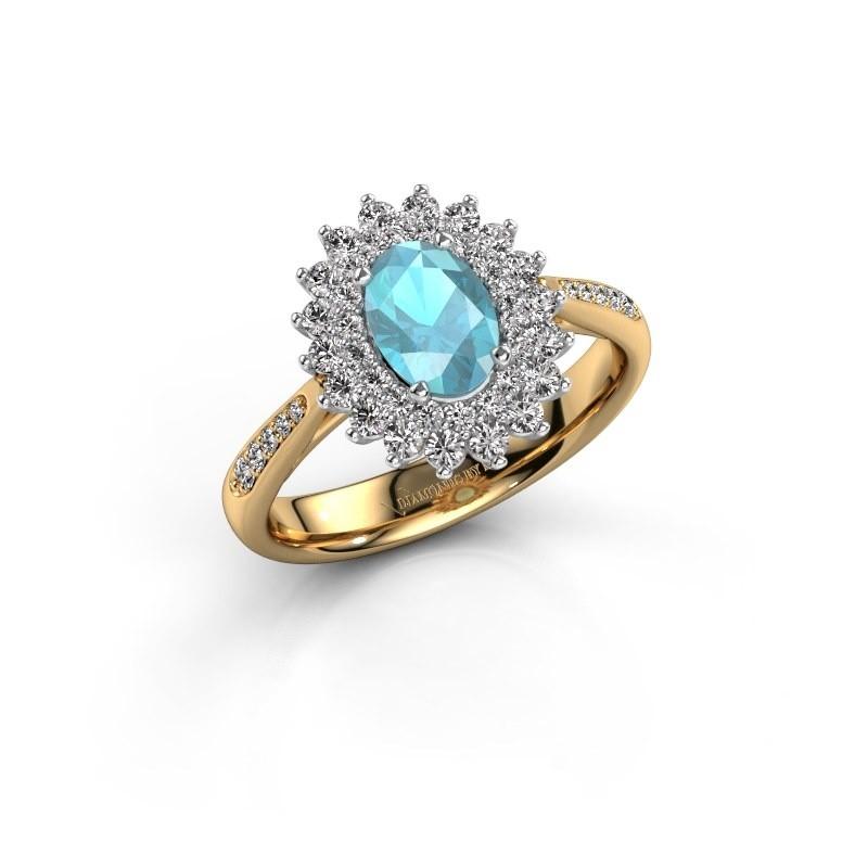 Engagement ring Alina 2 585 gold blue topaz 7x5 mm