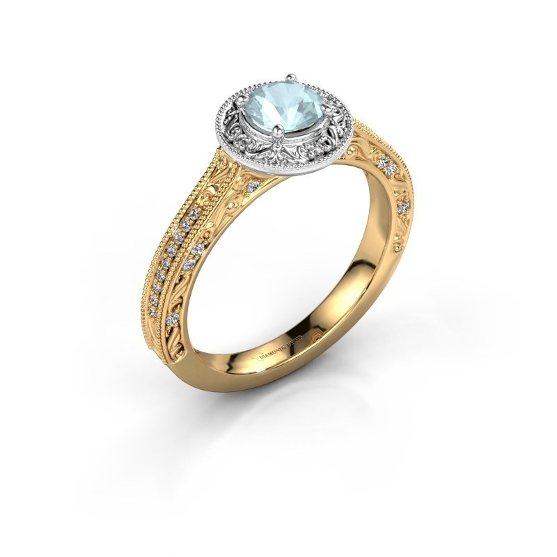 Verlovings ring Alice RND 585 goud aquamarijn 5 mm