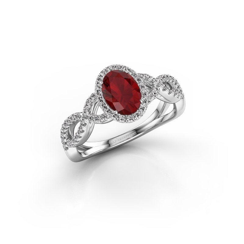 Engagement ring Dionne ovl 585 white gold ruby 7x5 mm