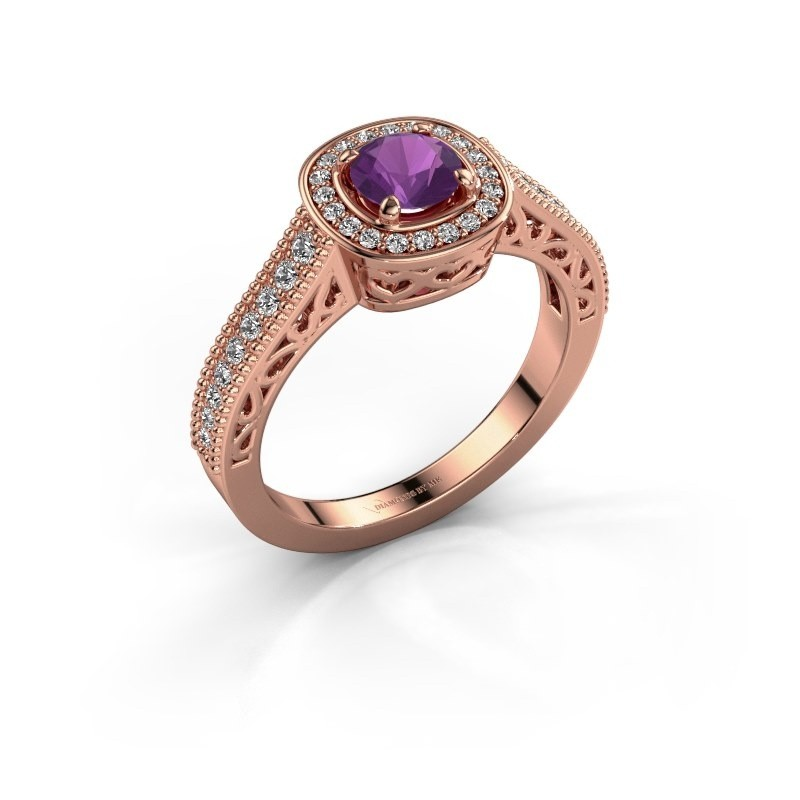 Verlovings ring Candi 375 rosé goud amethist 5 mm