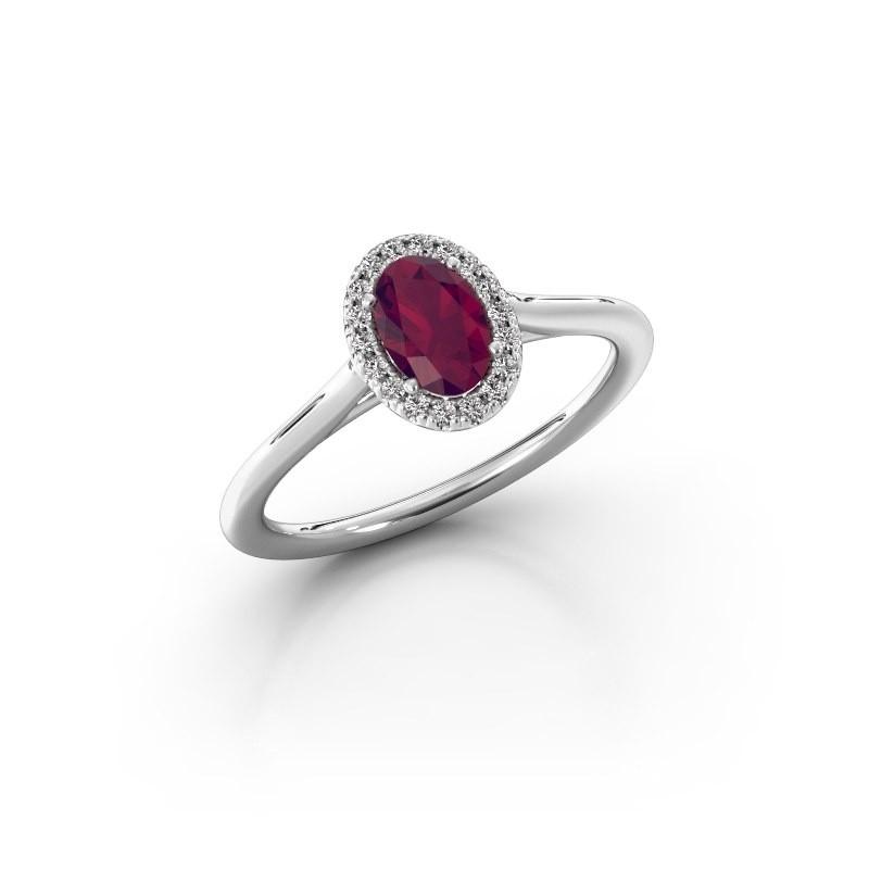 Engagement ring Seline 1 950 platinum rhodolite 6x4 mm