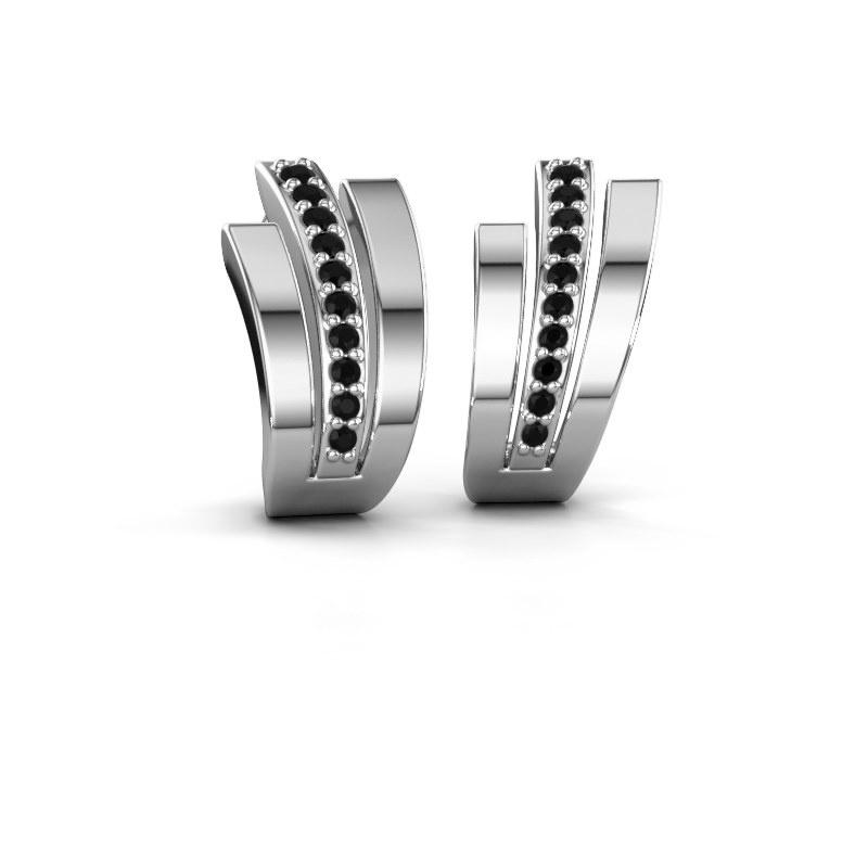 Oorbellen Emeline 925 zilver zwarte diamant 0.24 crt