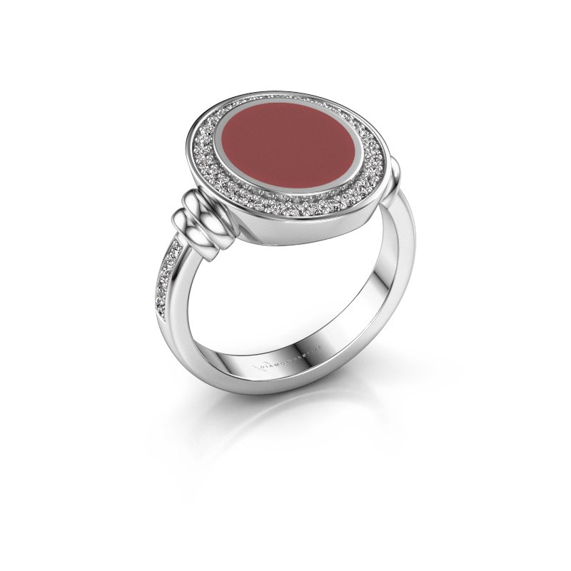 Siegelring Servie 2 925 Silber Rot Emaille 12x10 mm