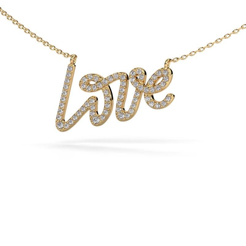 Hanger Love 375 goud diamant 0.357 crt