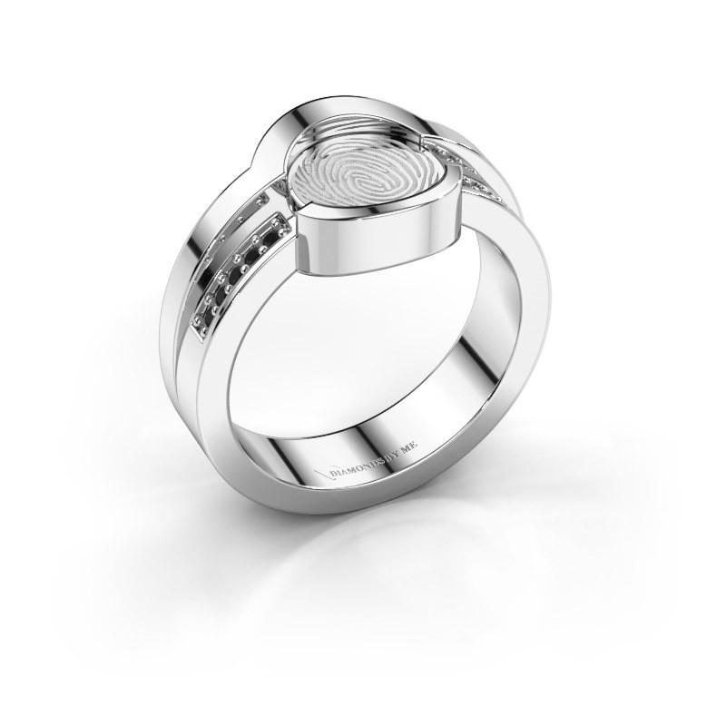 Ring Leander 585 witgoud zwarte diamant 0.03 crt