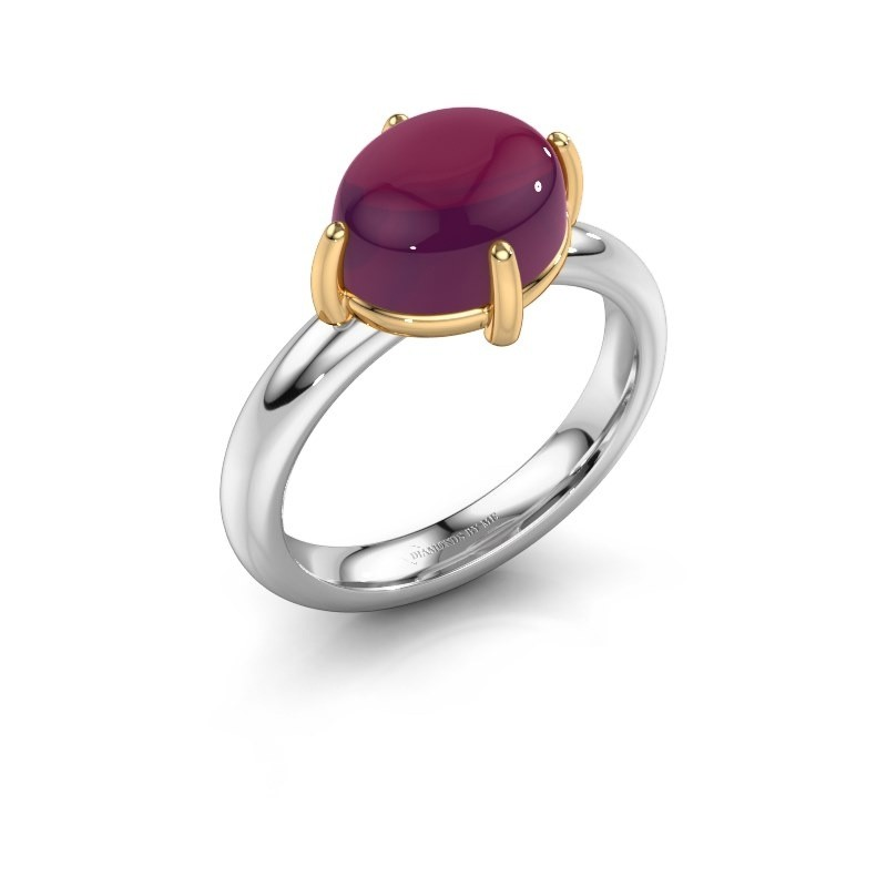 Ring Melodee 585 witgoud rhodoliet 10x8 mm
