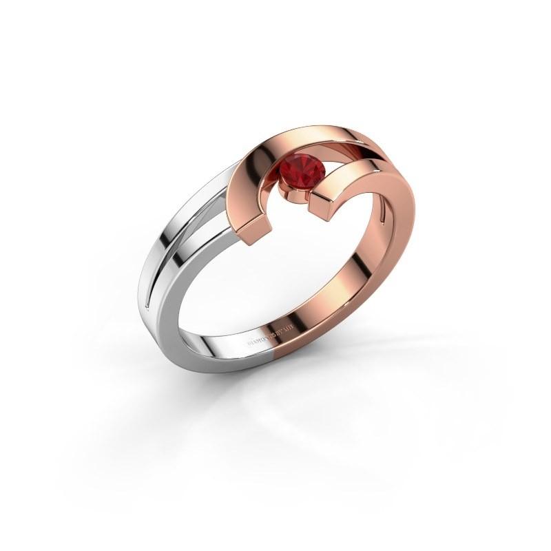 Ring Yentl 585 rosé goud robijn 3 mm