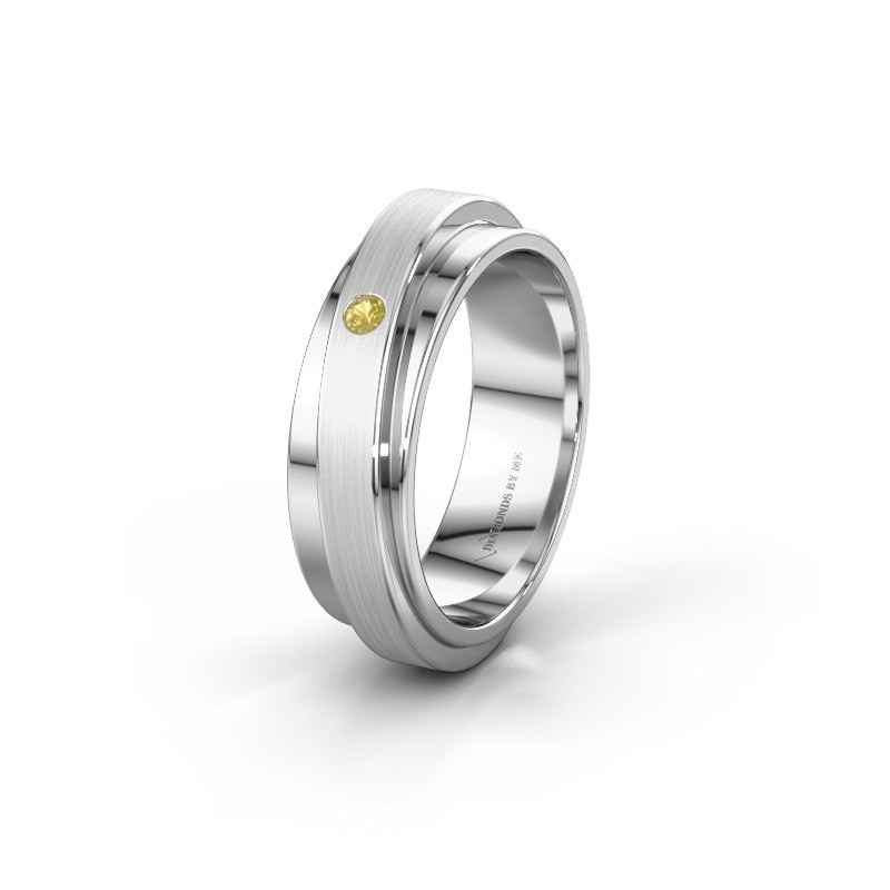 Huwelijksring WH2220L16D 950 platina gele saffier ±6x2.2 mm