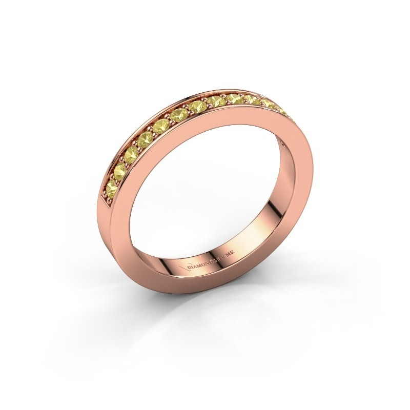Stackable ring Loes 6 375 rose gold yellow sapphire 1.7 mm