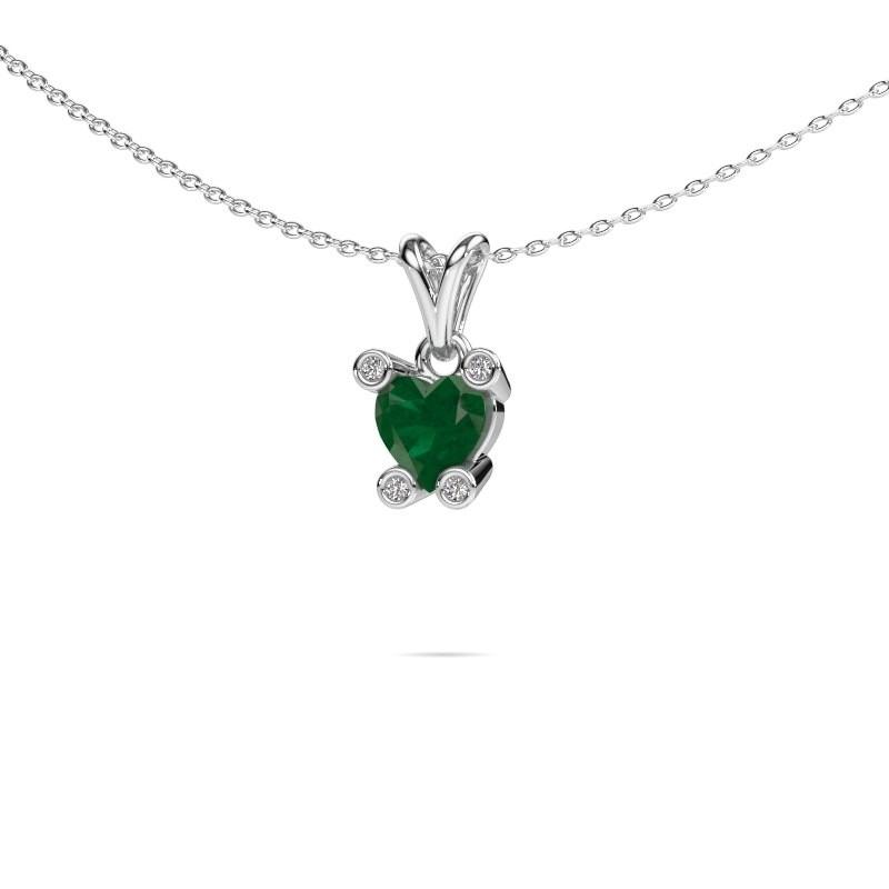 Ketting Cornelia Heart 585 witgoud smaragd 6 mm