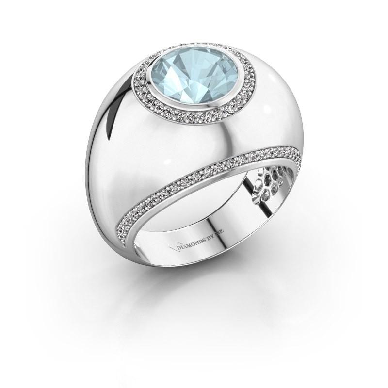 Ring Roxann 925 zilver aquamarijn 8 mm