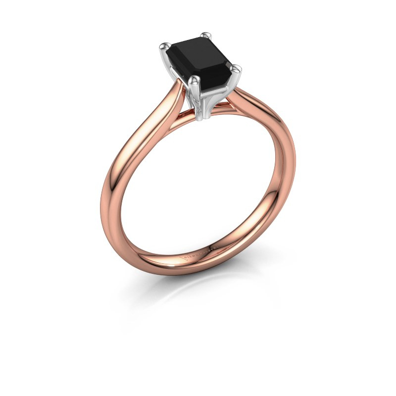 Verlovingsring Mignon eme 1 585 rosé goud zwarte diamant 1.08 crt