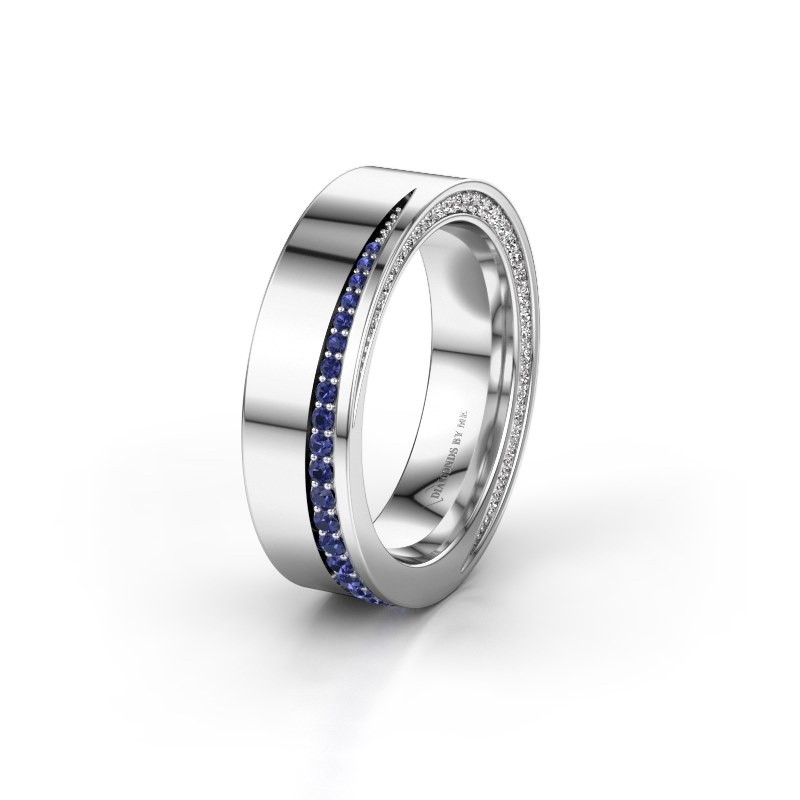 Trouwring WH1002L15DP 925 zilver saffier ±6x2.3 mm