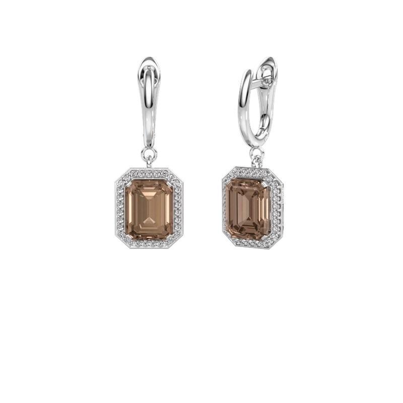 Drop earrings Dodie 1 585 white gold brown diamond 2.50 crt