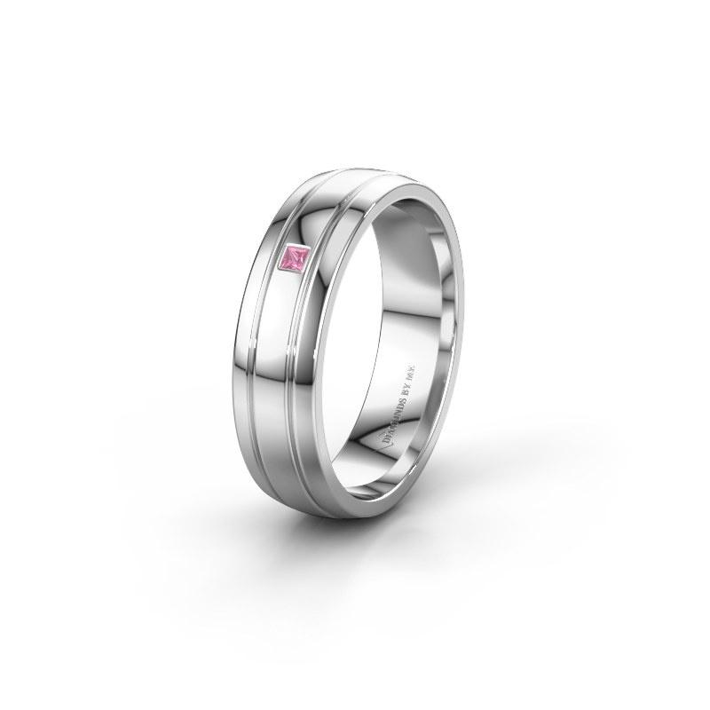 Trouwring WH0422L25X 950 platina roze saffier ±5x1.5 mm