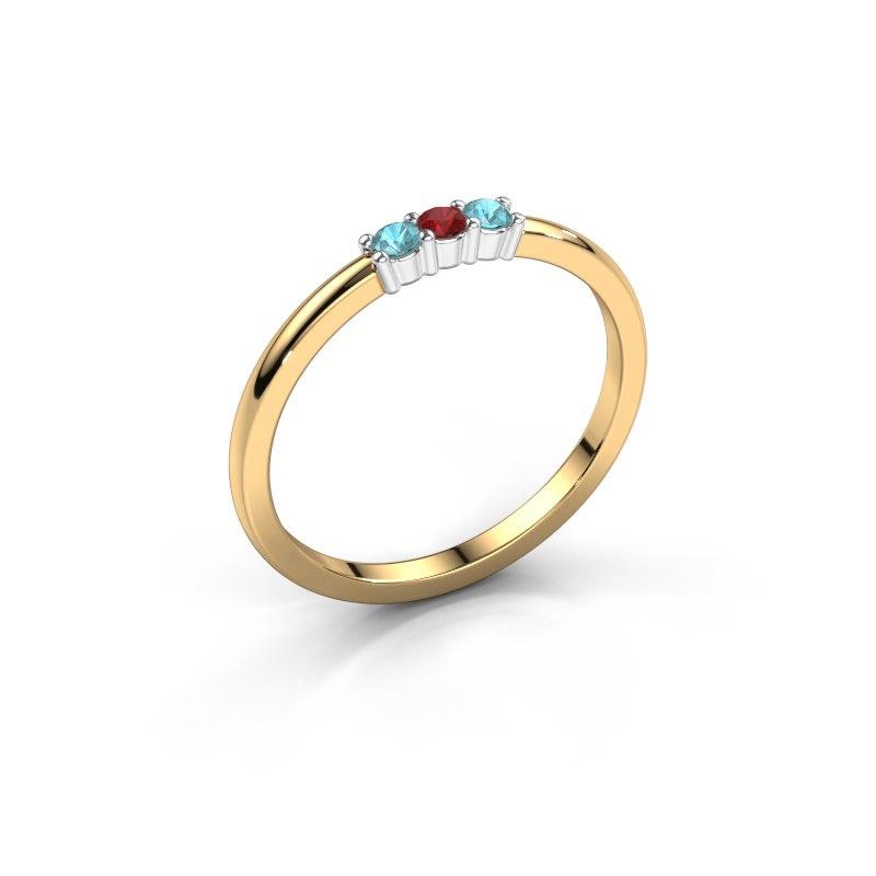 Verlovings ring Yasmin 3 585 goud robijn 2 mm
