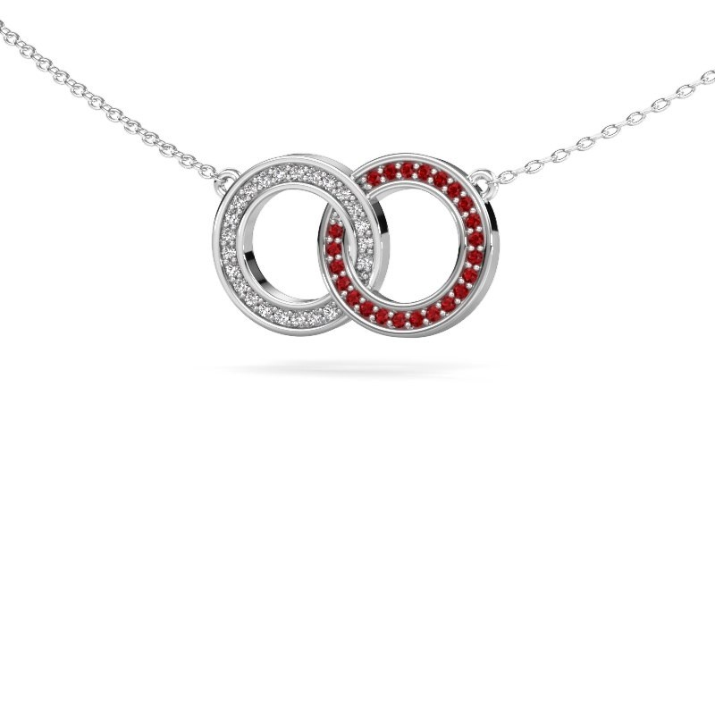 Collier Circles 1 925 argent rubis 1 mm