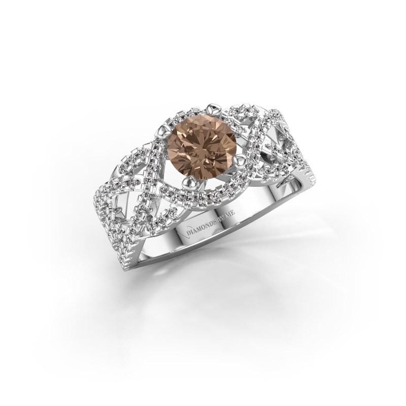 Bague de fiançailles Jeni 950 platine diamant brun 1.523 crt