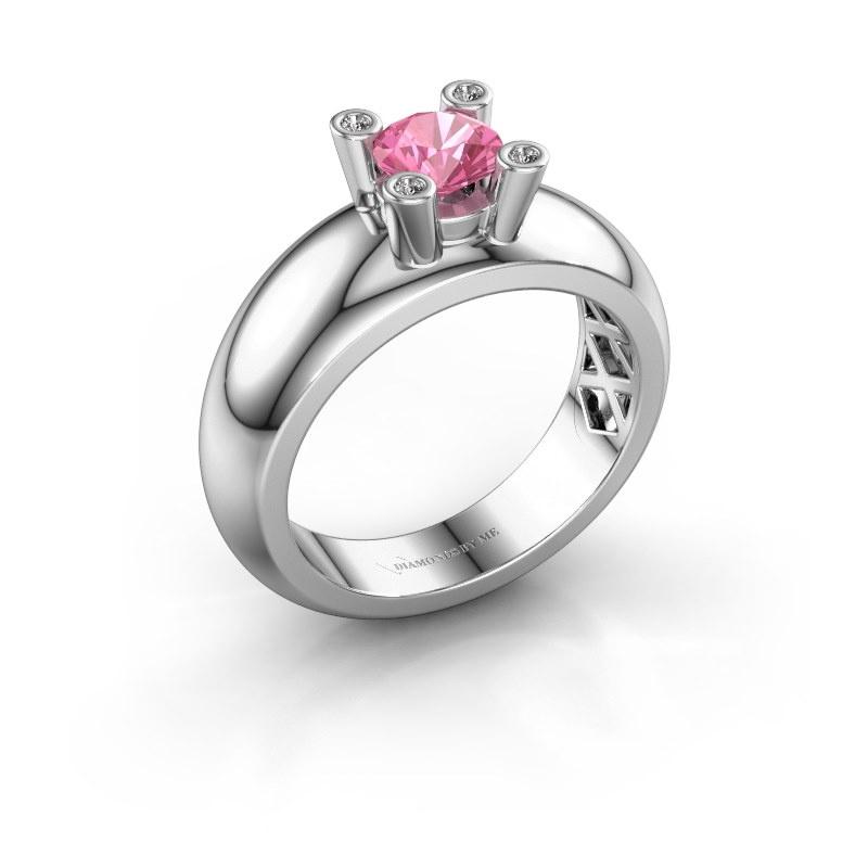 Ring Cornelia Round 925 Silber Pink Saphir 5 mm