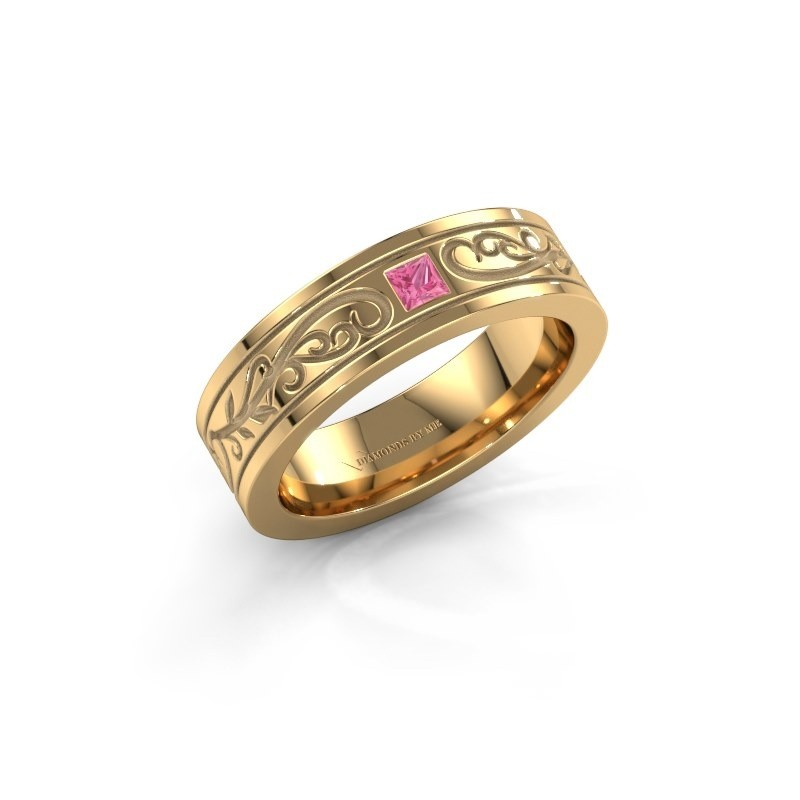 Men's ring Matijs 375 gold pink sapphire 3 mm
