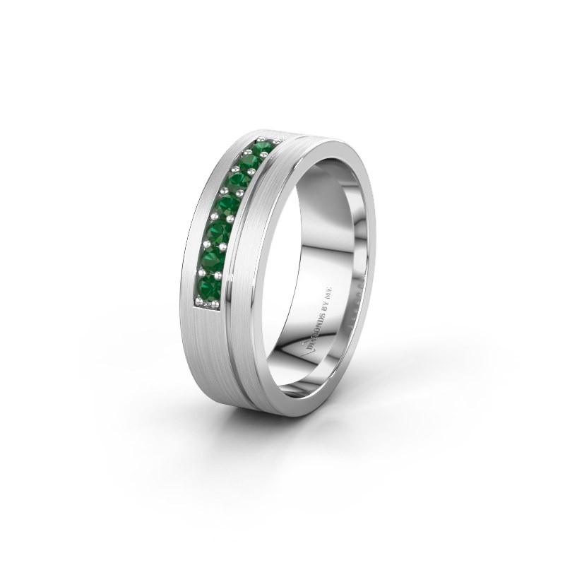 Trouwring WH0312L16AM 925 zilver smaragd ±6x1.7 mm