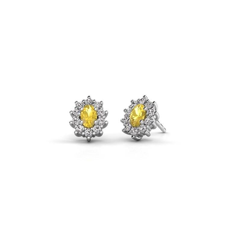Ohrringe Leesa 925 Silber Gelb Saphir 6x4 mm