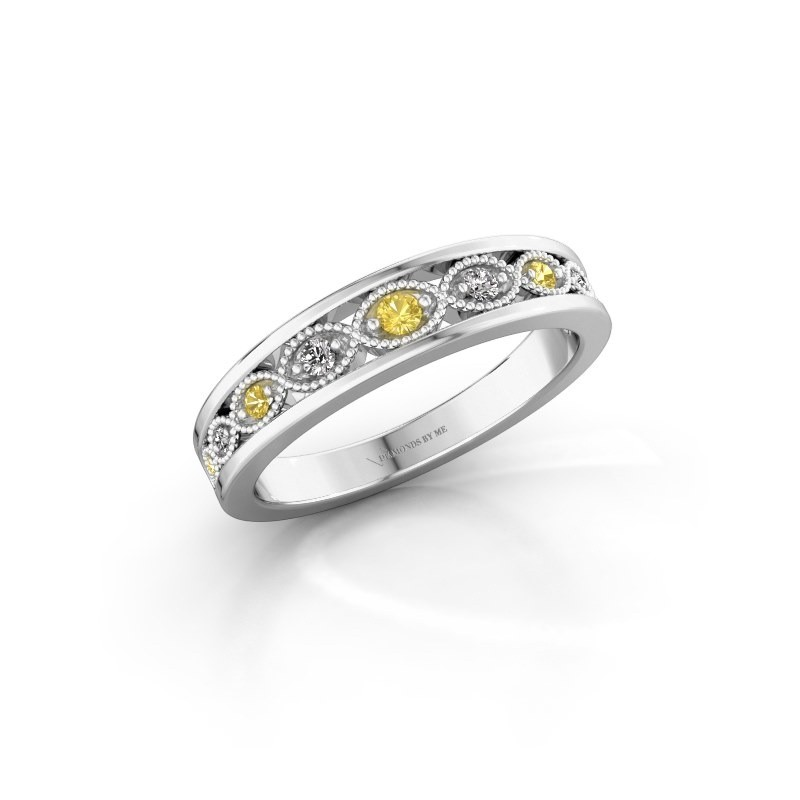 Stackable ring Laine 585 white gold yellow sapphire 2 mm