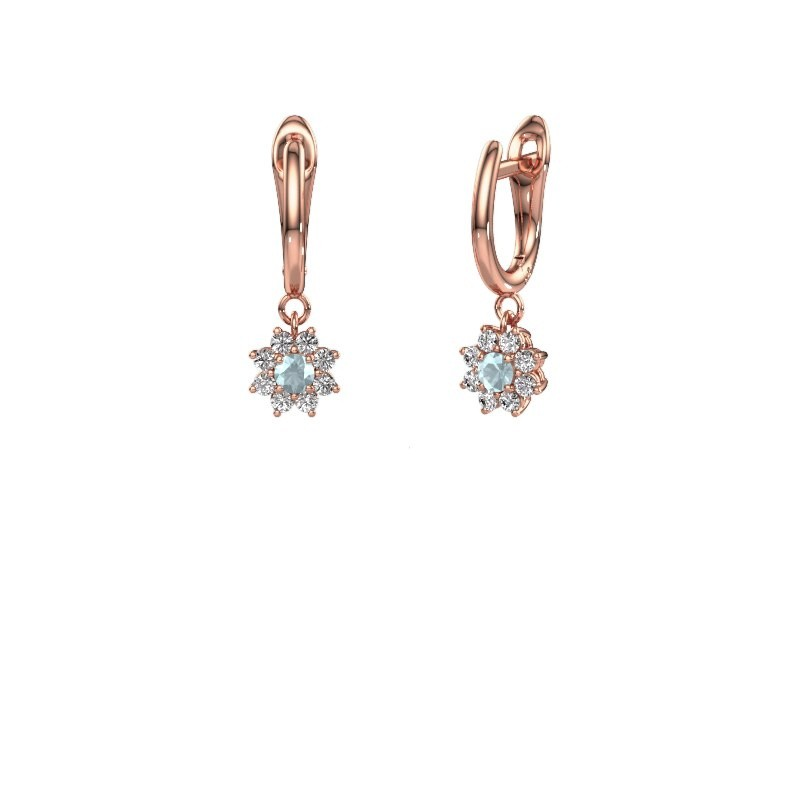 Drop earrings Camille 1 375 rose gold aquamarine 3 mm