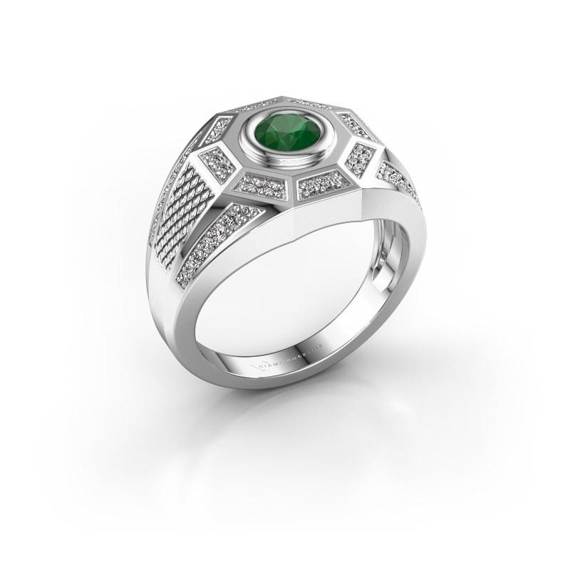 Heren ring Enzo 375 witgoud smaragd 5 mm
