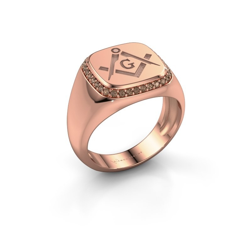 Men's ring Johan 375 rose gold brown diamond 0.255 crt